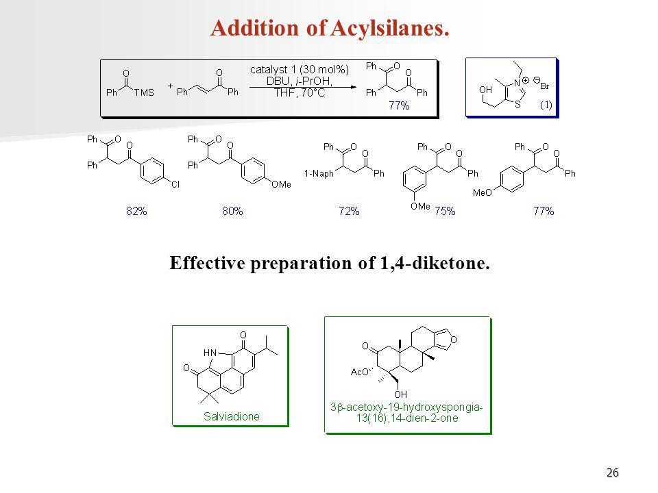26 Addition of Acylsilanes. Effective preparation of 1,4-diketone.