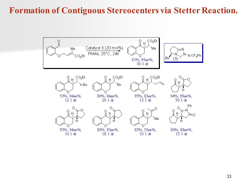 33 Formation of Contiguous Stereocenters via Stetter Reaction.