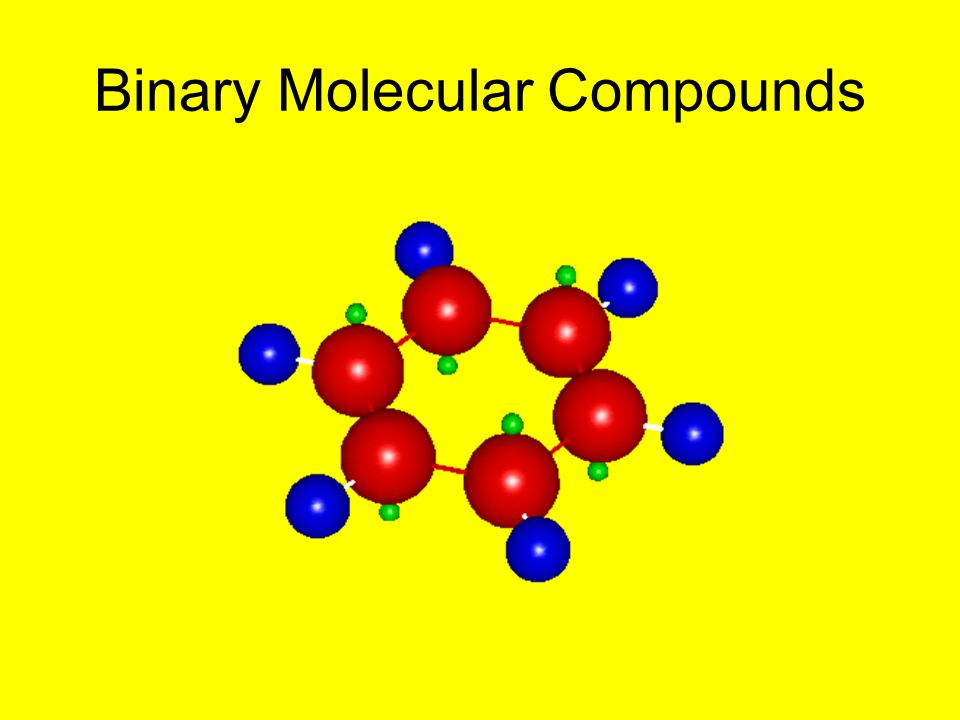 Binary molecular compounds are composed of two different nonmetals –examples: CO, SO 2, N 2 H 4, P 4 Cl 10 These compounds are named by using a prefix to indicate the number of atoms of each element present (see table in notebook ).