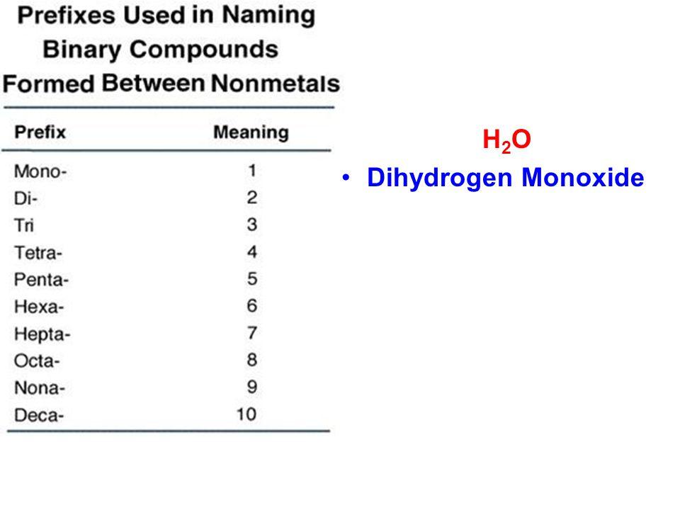 H2OH2O Dihydrogen Monoxide