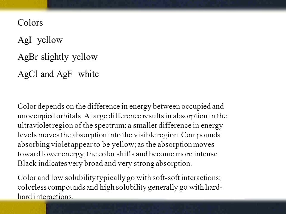 Colors AgI yellow AgBr slightly yellow AgCl and AgF white Color depends on the difference in energy between occupied and unoccupied orbitals.