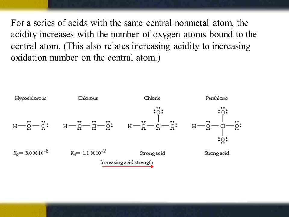 For a series of acids with the same central nonmetal atom, the acidity increases with the number of oxygen atoms bound to the central atom.