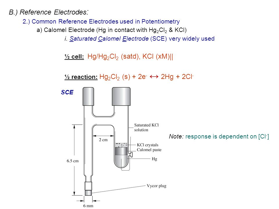 B.) Reference Electrodes : 2.) Common Reference Electrodes used in Potentiometry a) Calomel Electrode (Hg in contact with Hg 2 Cl 2 & KCl) i. Saturate