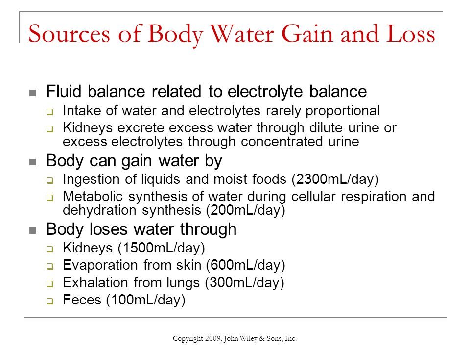 Copyright 2009, John Wiley & Sons, Inc. Daily Water Gain and Loss