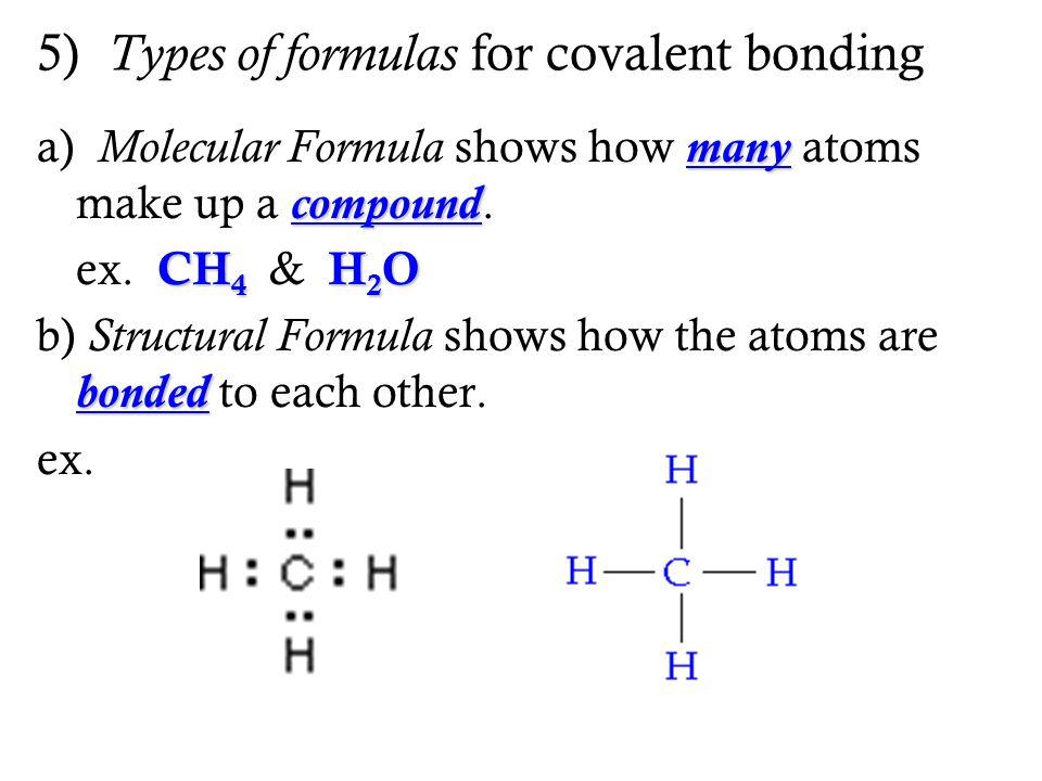 5) Types of formulas for covalent bonding many compound a) Molecular Formula shows how many atoms make up a compound. CH 4 H 2 O ex. CH 4 & H 2 O bond