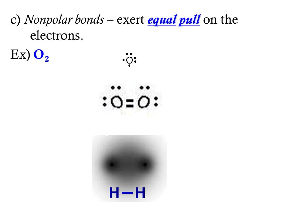 equalpull c) Nonpolar bonds – exert equal pull on the electrons. Ex) O 2