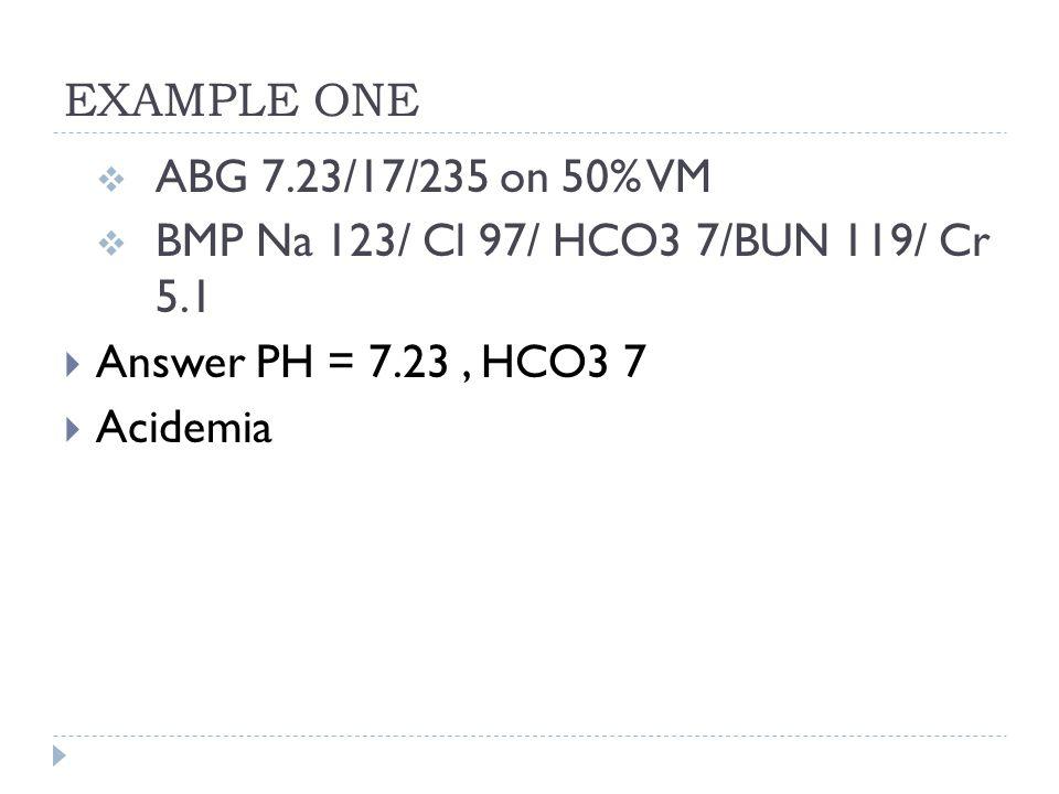 EXAMPLE ONE  ABG 7.23/17/235 on 50% VM  BMP Na 123/ Cl 97/ HCO3 7/BUN 119/ Cr 5.1  Answer PH = 7.23, HCO3 7  Acidemia