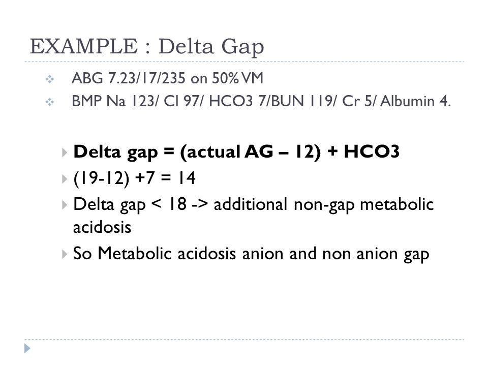 EXAMPLE : Delta Gap  ABG 7.23/17/235 on 50% VM  BMP Na 123/ Cl 97/ HCO3 7/BUN 119/ Cr 5/ Albumin 4.  Delta gap = (actual AG – 12) + HCO3  (19-12)