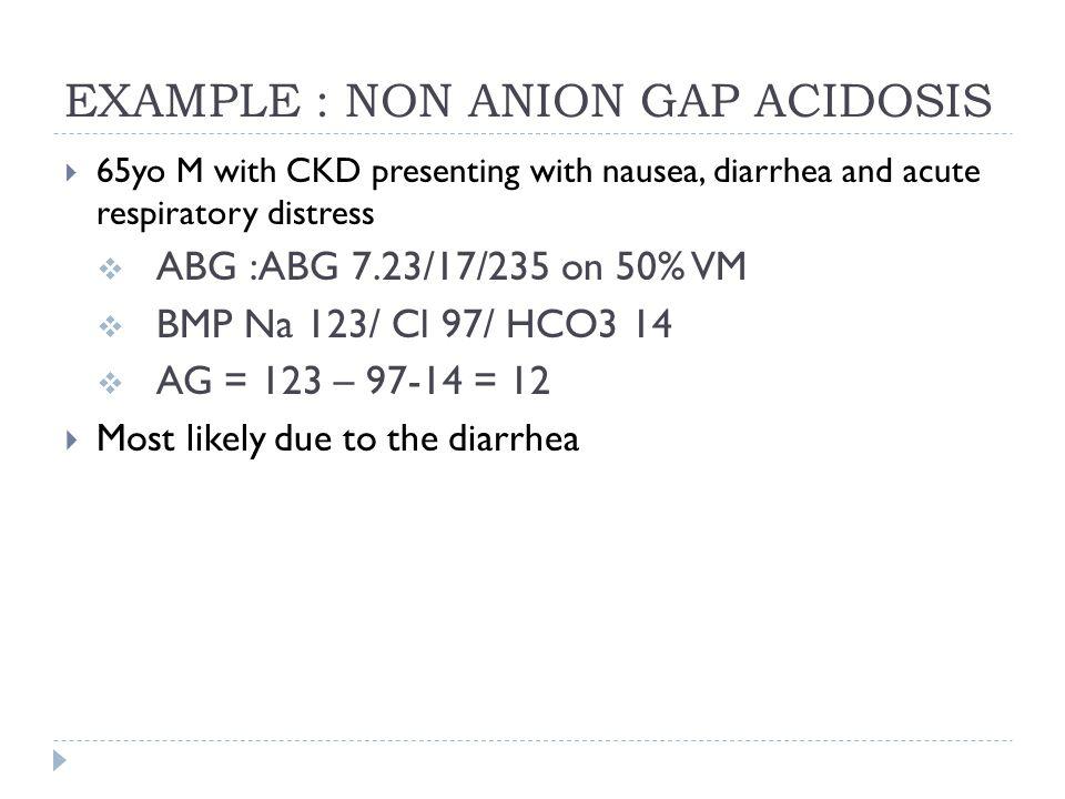 EXAMPLE : NON ANION GAP ACIDOSIS  65yo M with CKD presenting with nausea, diarrhea and acute respiratory distress  ABG :ABG 7.23/17/235 on 50% VM 