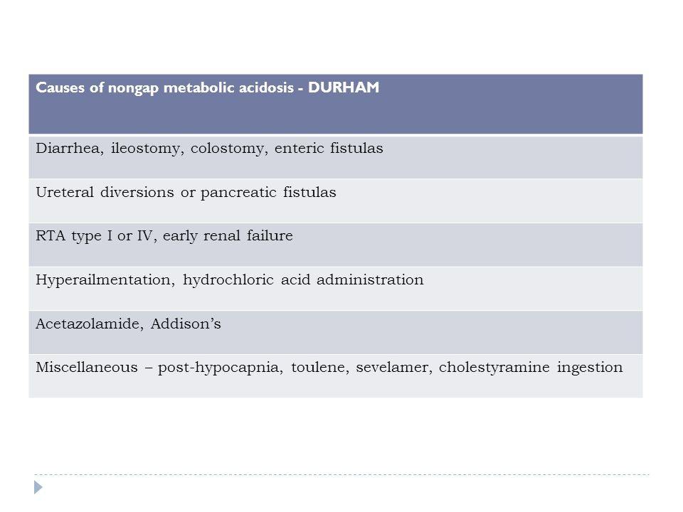 Causes of nongap metabolic acidosis - DURHAM Diarrhea, ileostomy, colostomy, enteric fistulas Ureteral diversions or pancreatic fistulas RTA type I or