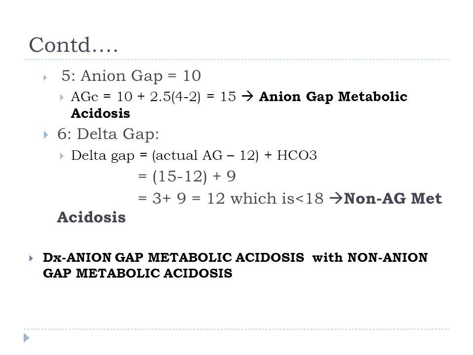 Contd….  5: Anion Gap = 10  AGc = 10 + 2.5(4-2) = 15  Anion Gap Metabolic Acidosis  6: Delta Gap:  Delta gap = (actual AG – 12) + HCO3 = (15-12)