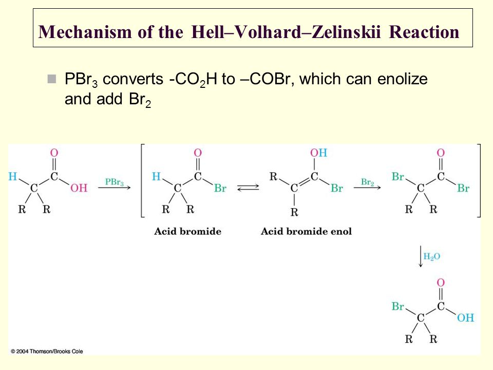 Mechanism of the Hell–Volhard–Zelinskii Reaction PBr 3 converts -CO 2 H to –COBr, which can enolize and add Br 2