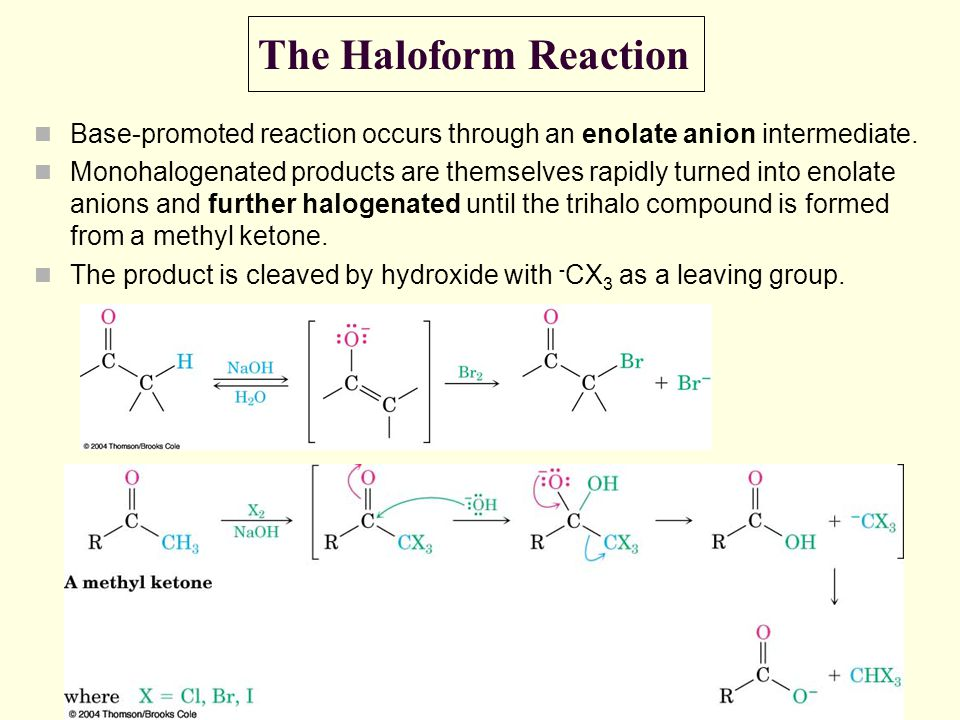 The Haloform Reaction Base-promoted reaction occurs through an enolate anion intermediate. Monohalogenated products are themselves rapidly turned into