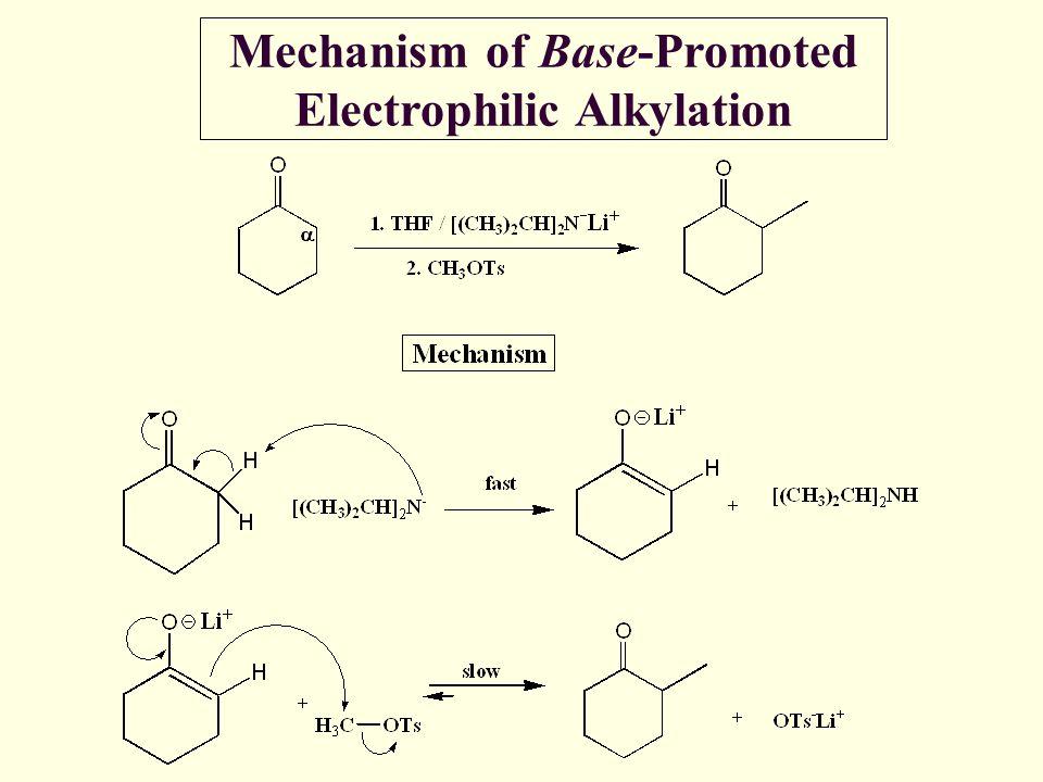 Mechanism of Base-Promoted Electrophilic Alkylation