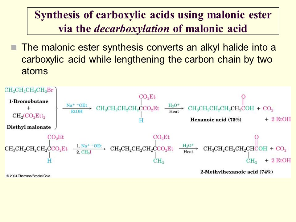 The malonic ester synthesis converts an alkyl halide into a carboxylic acid while lengthening the carbon chain by two atoms Synthesis of carboxylic ac