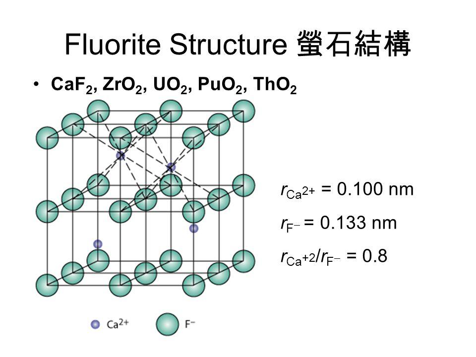 Fluorite Structure 螢石結構 CaF 2, ZrO 2, UO 2, PuO 2, ThO 2 r Ca 2+ = 0.100 nm r F  = 0.133 nm r Ca +2 /r F  = 0.8