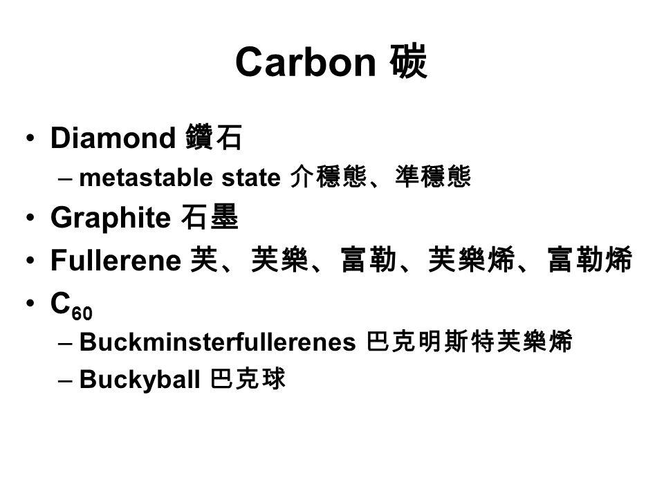 Carbon 碳 Diamond 鑽石 –metastable state 介穩態、準穩態 Graphite 石墨 Fullerene 芙、芙樂、富勒、芙樂烯、富勒烯 C 60 –Buckminsterfullerenes 巴克明斯特芙樂烯 –Buckyball 巴克球