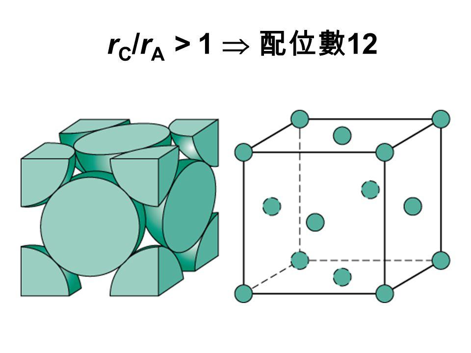 r C /r A > 1  配位數 12