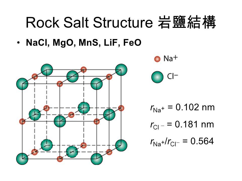 Rock Salt Structure 岩鹽結構 NaCl, MgO, MnS, LiF, FeO r Na + = 0.102 nm r Cl  = 0.181 nm r Na + /r Cl  = 0.564