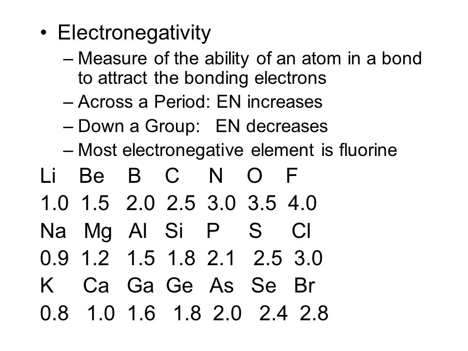 Determine the amount of covalent or ionic character in a bond Using Electronegativity The difference in electronegativity between two atoms can be used to determine how ionic or how covalent the bond is