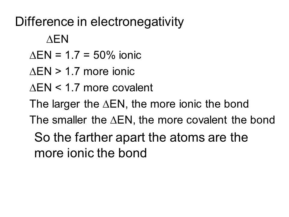 Difference in electronegativity  EN  EN = 1.7 = 50% ionic  EN > 1.7 more ionic  EN < 1.7 more covalent The larger the  EN, the more ionic the bon