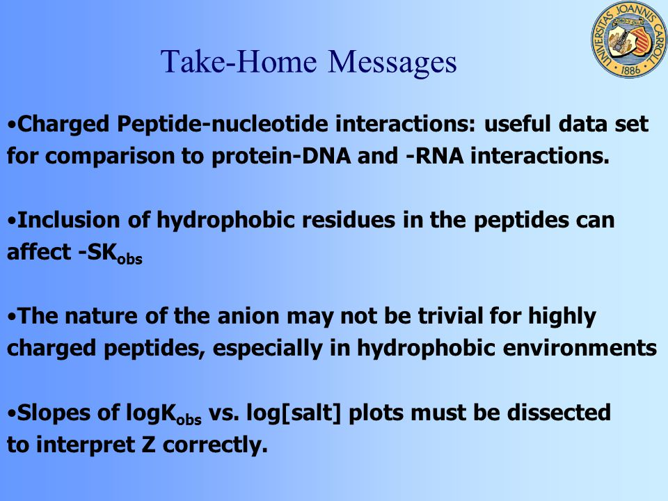 Take-Home Messages Charged Peptide-nucleotide interactions: useful data set for comparison to protein-DNA and -RNA interactions.