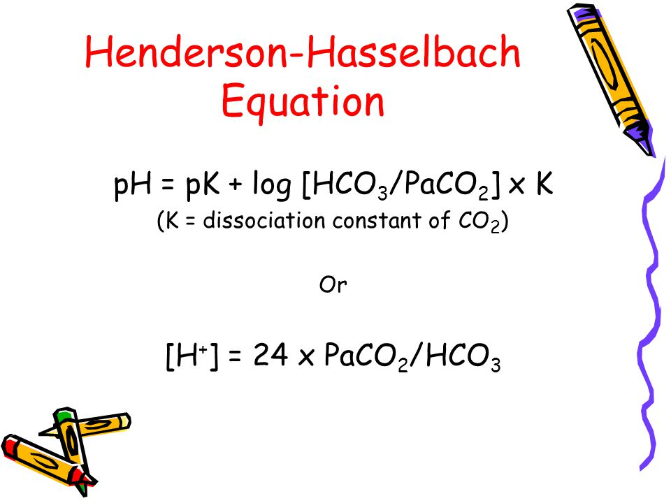 Henderson-Hasselbach Equation pH = pK + log [HCO 3 /PaCO 2 ] x K (K = dissociation constant of CO 2 ) Or [H + ] = 24 x PaCO 2 /HCO 3