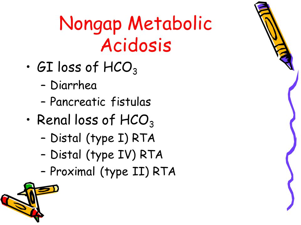 Nongap Metabolic Acidosis GI loss of HCO 3 –Diarrhea –Pancreatic fistulas Renal loss of HCO 3 –Distal (type I) RTA –Distal (type IV) RTA –Proximal (type II) RTA