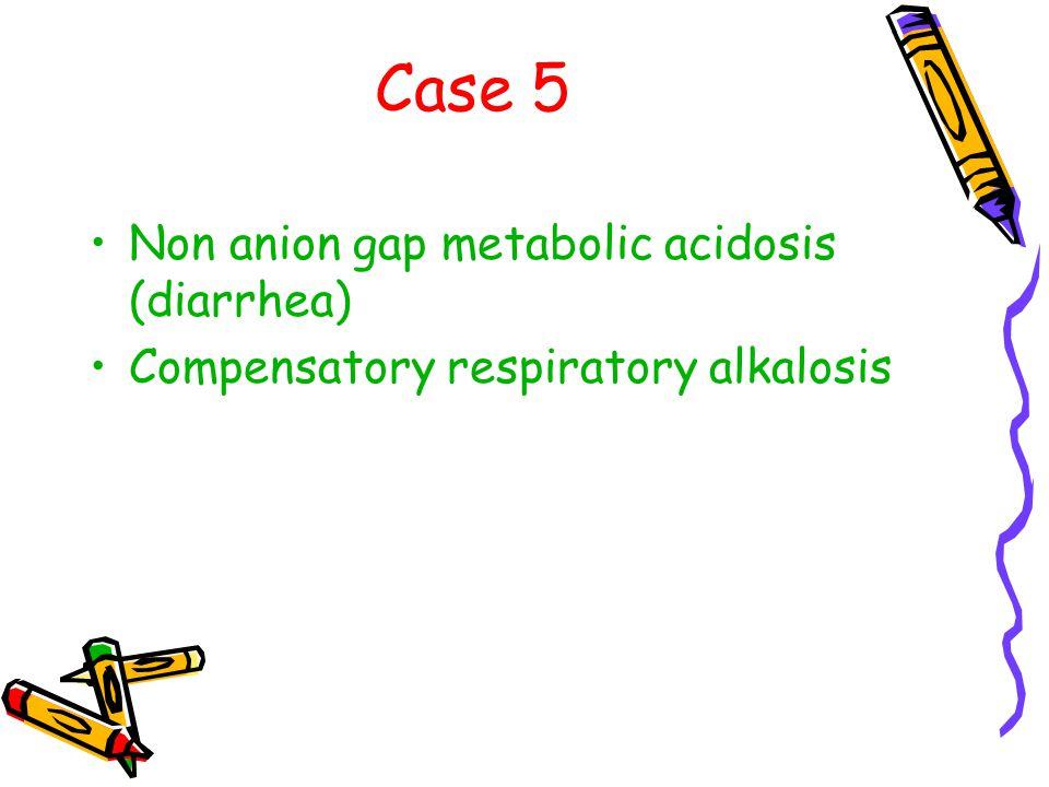 Case 5 Non anion gap metabolic acidosis (diarrhea) Compensatory respiratory alkalosis