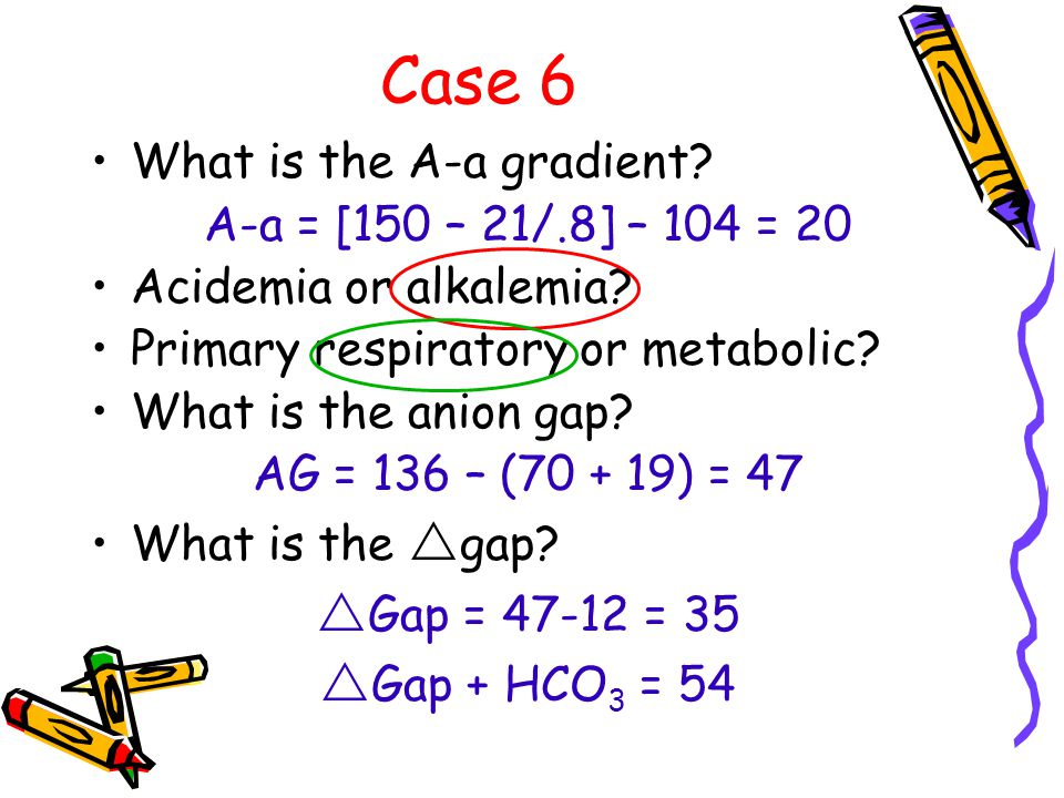 Case 6 What is the A-a gradient. A-a = [150 – 21/.8] – 104 = 20 Acidemia or alkalemia.