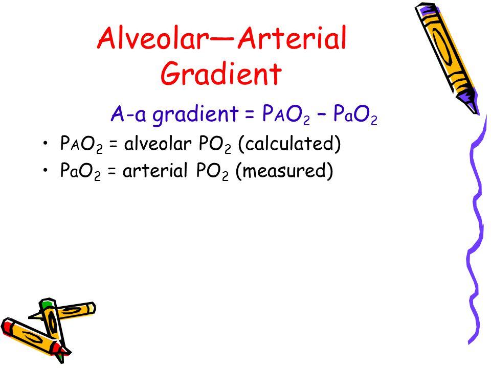 Alveolar—Arterial Gradient A-a gradient = P A O 2 – P a O 2 P A O 2 = alveolar PO 2 (calculated) P a O 2 = arterial PO 2 (measured)