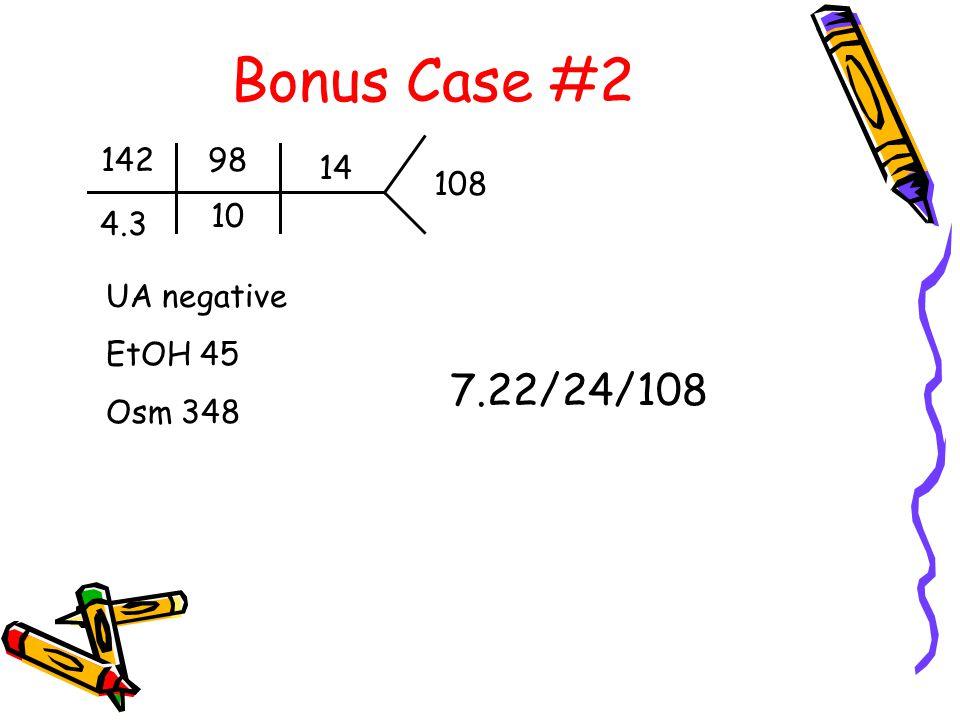 Bonus Case #2 142 4.3 98 10 14 108 UA negative EtOH 45 Osm 348 7.22/24/108