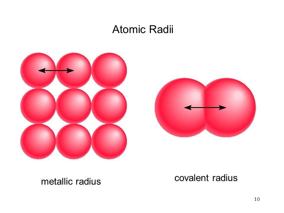 10 Atomic Radii metallic radius covalent radius