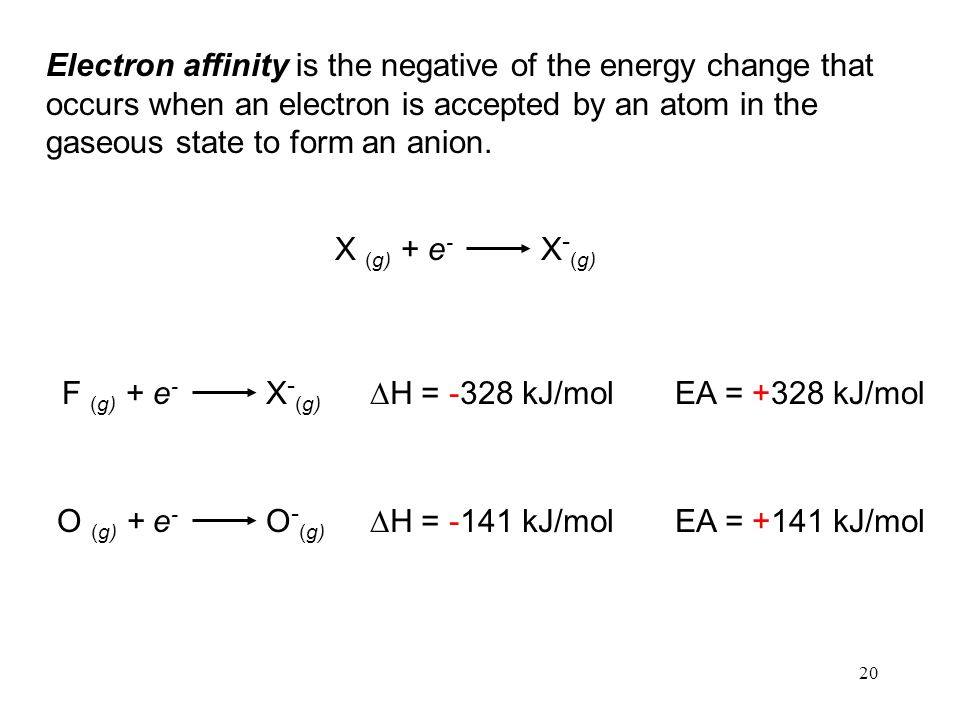 20 Electron affinity is the negative of the energy change that occurs when an electron is accepted by an atom in the gaseous state to form an anion.