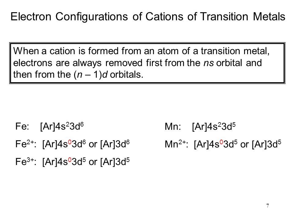7 Electron Configurations of Cations of Transition Metals When a cation is formed from an atom of a transition metal, electrons are always removed first from the ns orbital and then from the (n – 1)d orbitals.