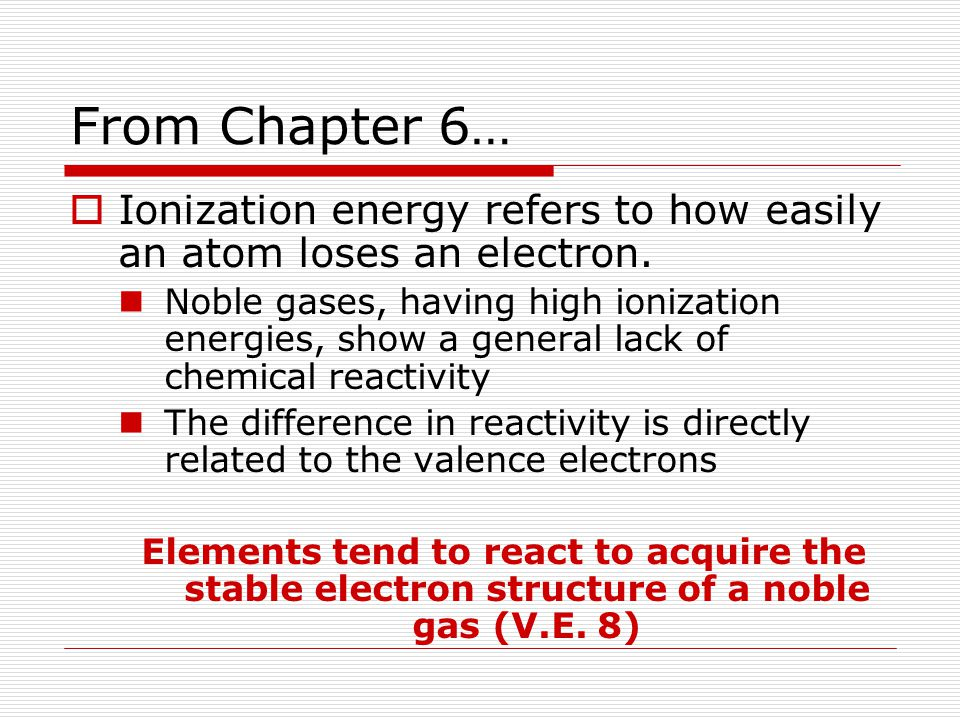 Formation of Positive Ions  A positive ion forms when an atom loses one or more valence electrons in order to attain a noble gas configuration Positively charged ion is called a cation
