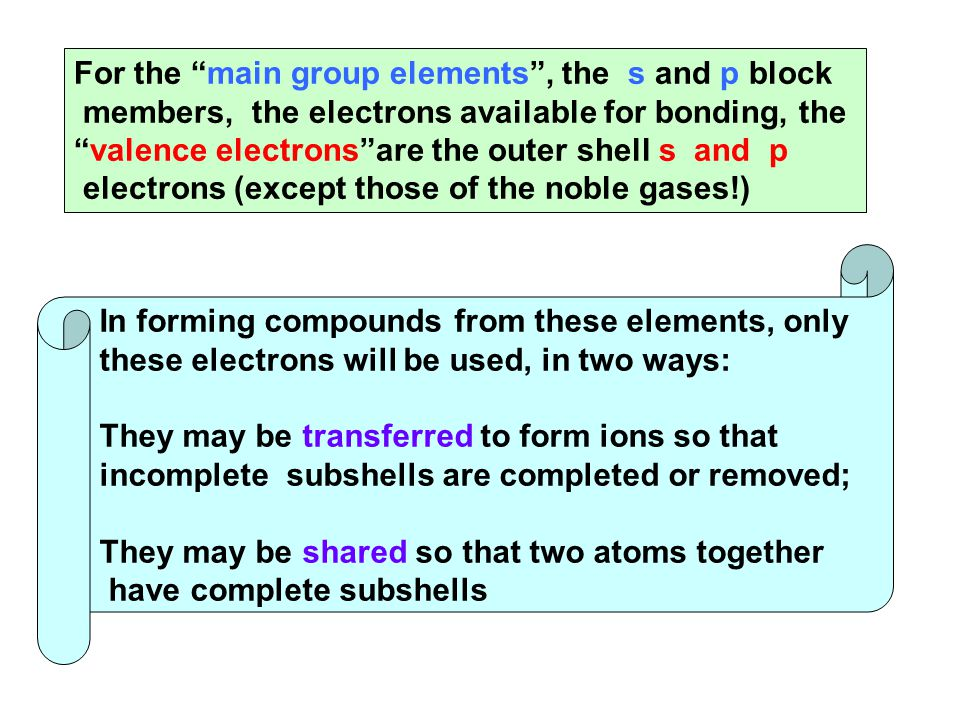 "For the ""main group elements"", the s and p block members, the electrons available for bonding, the ""valence electrons""are the outer shell s and p elec"