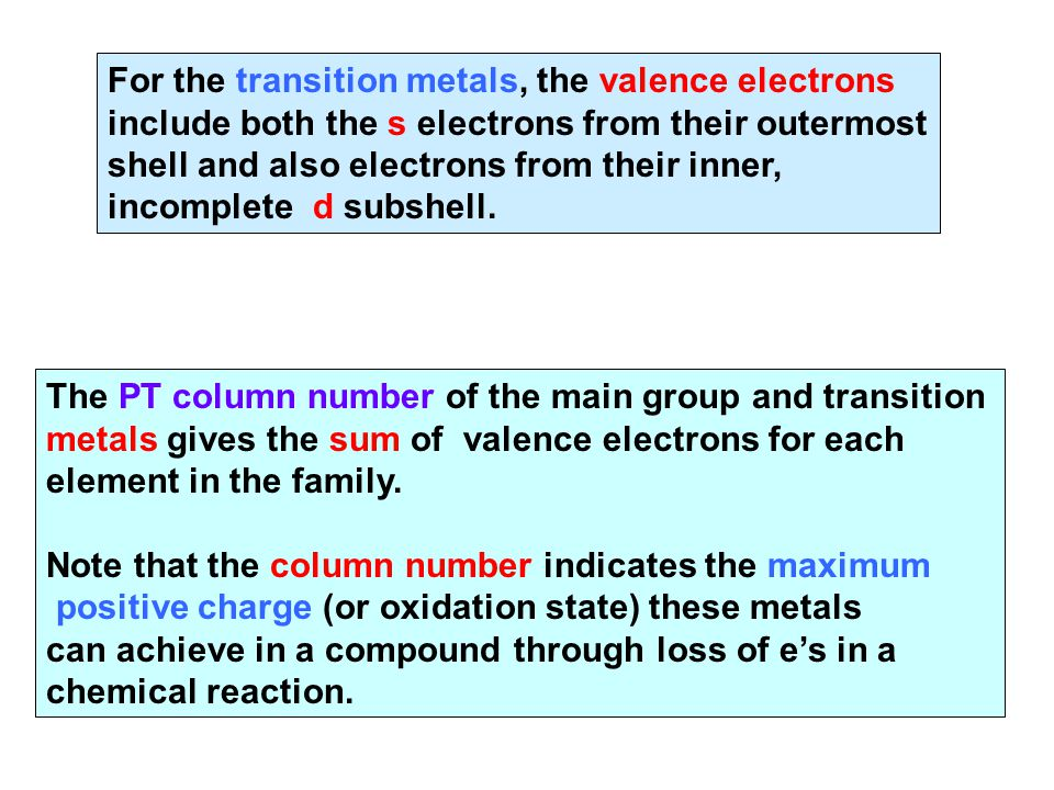 For the transition metals, the valence electrons include both the s electrons from their outermost shell and also electrons from their inner, incomple