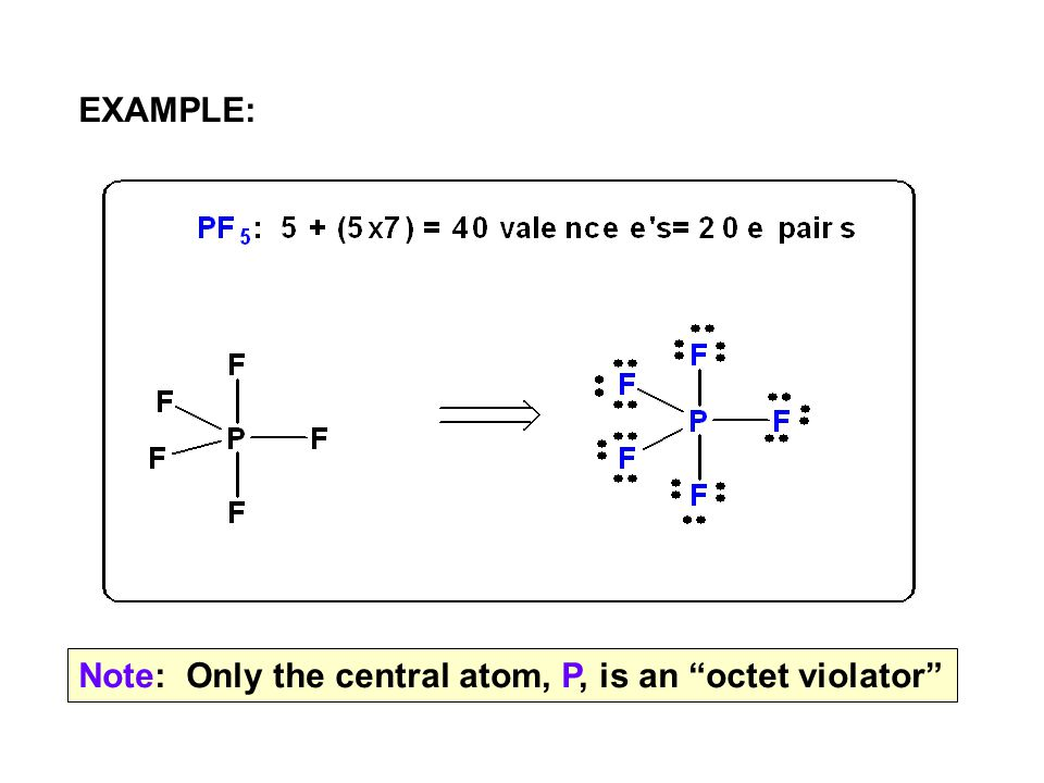 "EXAMPLE: Note: Only the central atom, P, is an ""octet violator"""