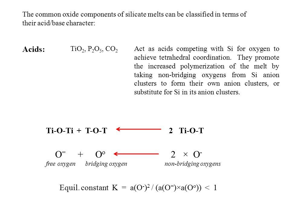 Acids: TiO 2, P 2 O 5, CO 2 Act as acids competing with Si for oxygen to achieve tetrahedral coordination.
