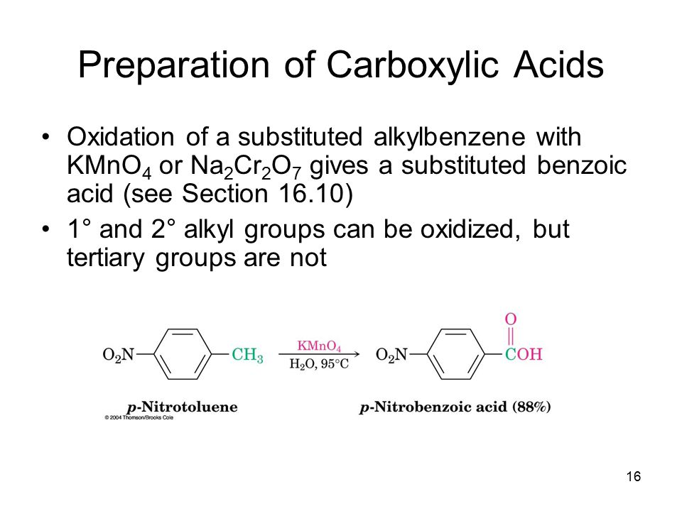 17 From Alkenes Oxidative cleavage of an alkene with KMnO 4 gives a carboxylic acid if the alkene has at least one vinylic hydrogen (see Section 7.8)