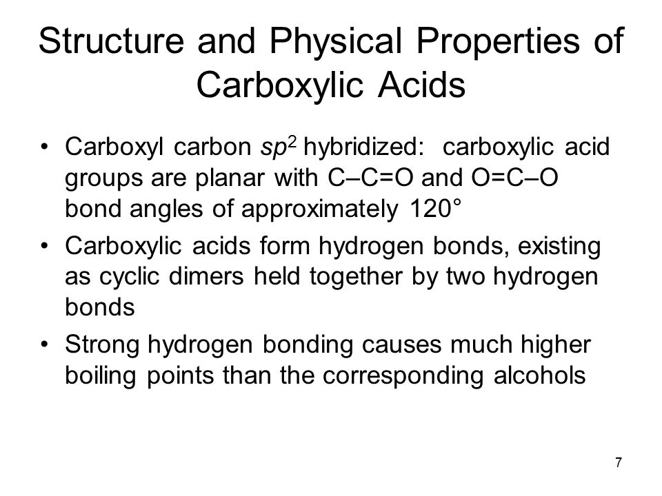 8 Dissociation of Carboxylic Acids Carboxylic acids are proton donors toward weak and strong bases, producing metal carboxylate salts, RCO 2  + M Carboxylic acids with more than six carbons are only slightly soluble in water, but their conjugate base salts are water-soluble