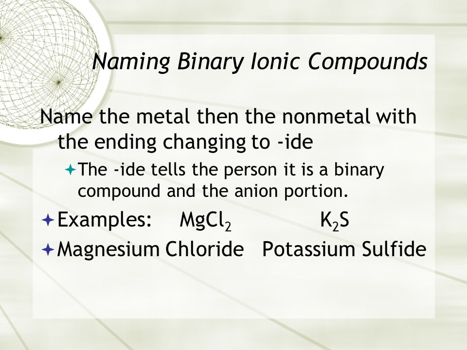 Naming Binary Ionic Compounds Name the metal then the nonmetal with the ending changing to -ide  The -ide tells the person it is a binary compound and the anion portion.