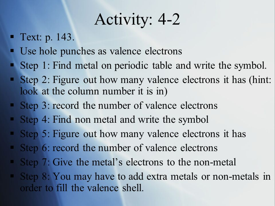 Activity: 4-2  Text: p. 143.  Use hole punches as valence electrons  Step 1: Find metal on periodic table and write the symbol.  Step 2: Figure ou