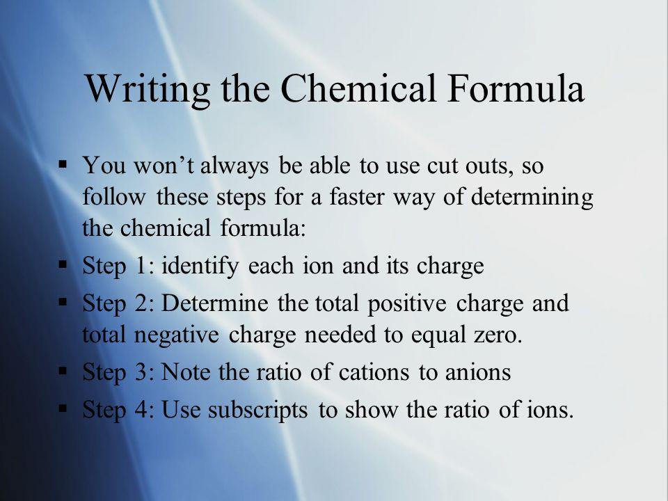 Examples:  Aluminum Fluoride:  1.Aluminum: Al 3+ Fluoride: F -  2.