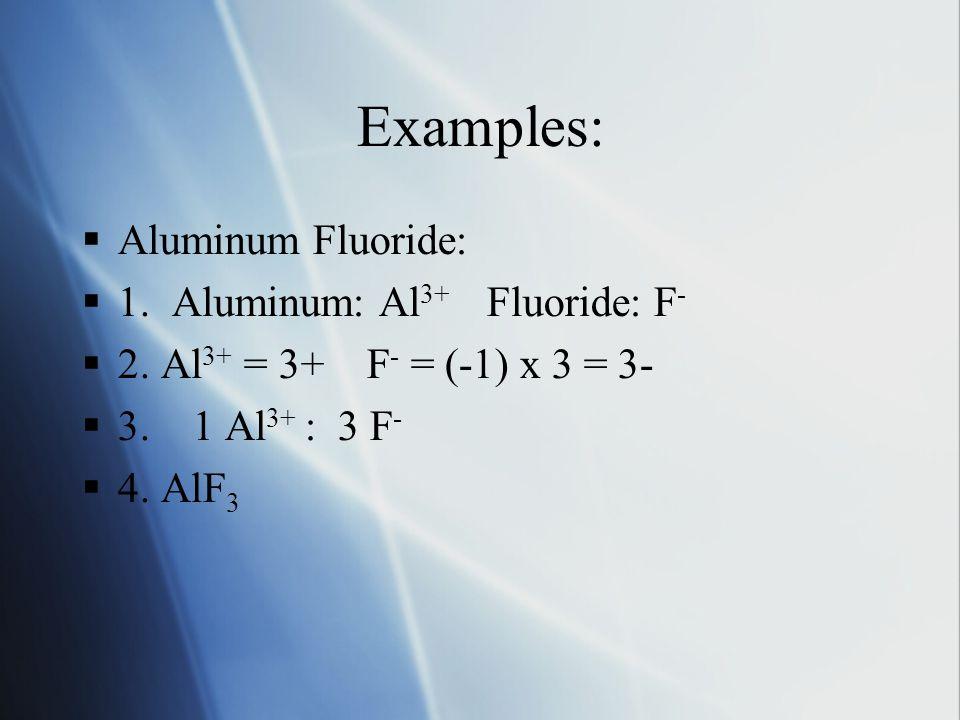 Examples:  Aluminum Fluoride:  1. Aluminum: Al 3+ Fluoride: F -  2.