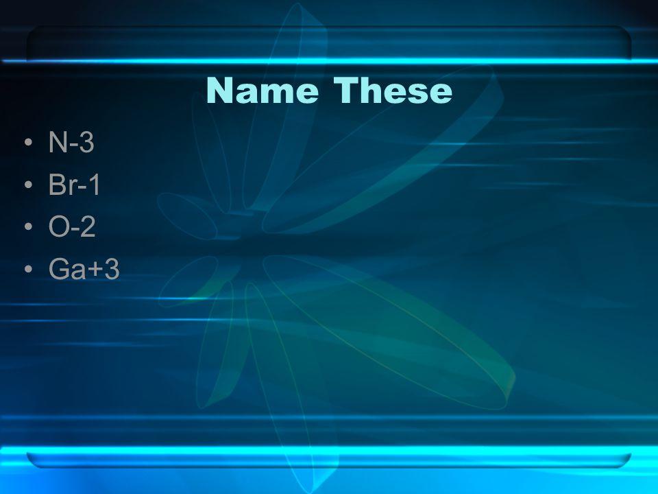 Name These N-3 Br-1 O-2 Ga+3