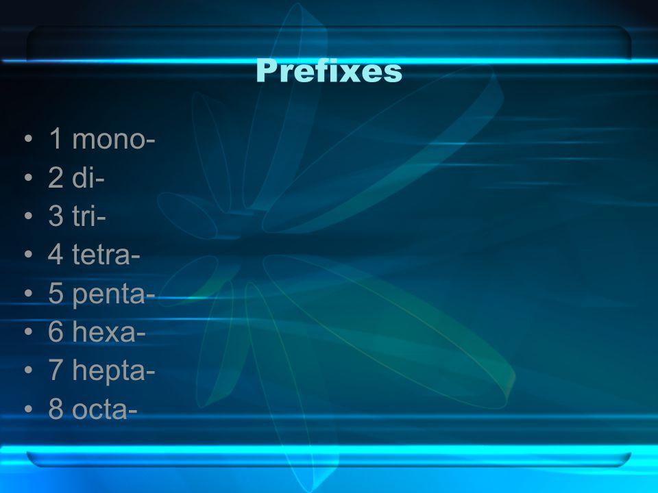 Prefixes 1 mono- 2 di- 3 tri- 4 tetra- 5 penta- 6 hexa- 7 hepta- 8 octa-