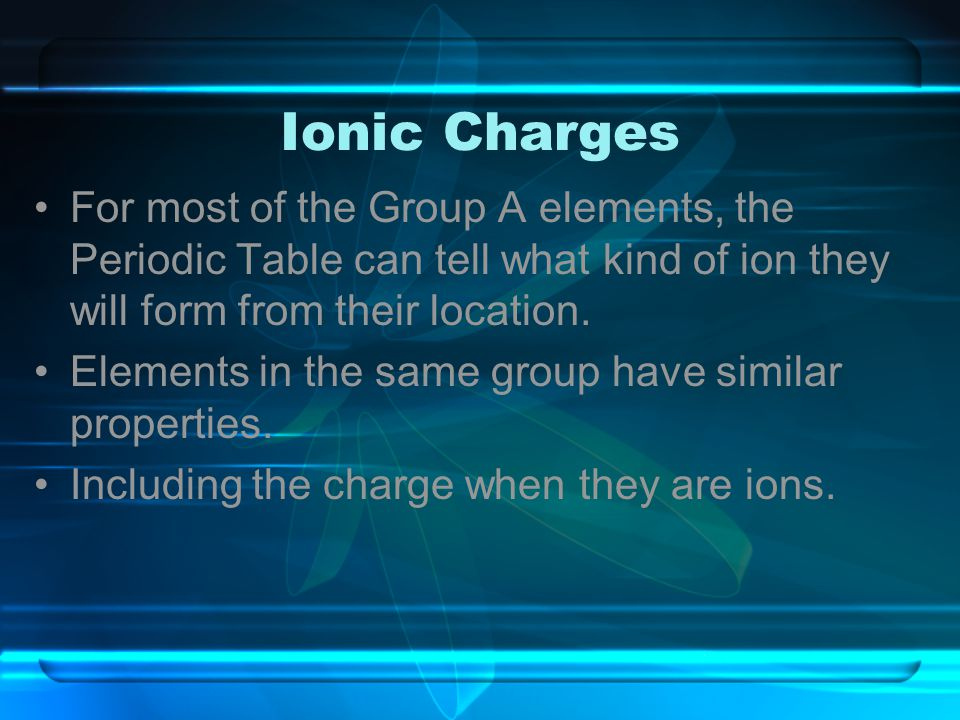 Ionic Charges For most of the Group A elements, the Periodic Table can tell what kind of ion they will form from their location. Elements in the same