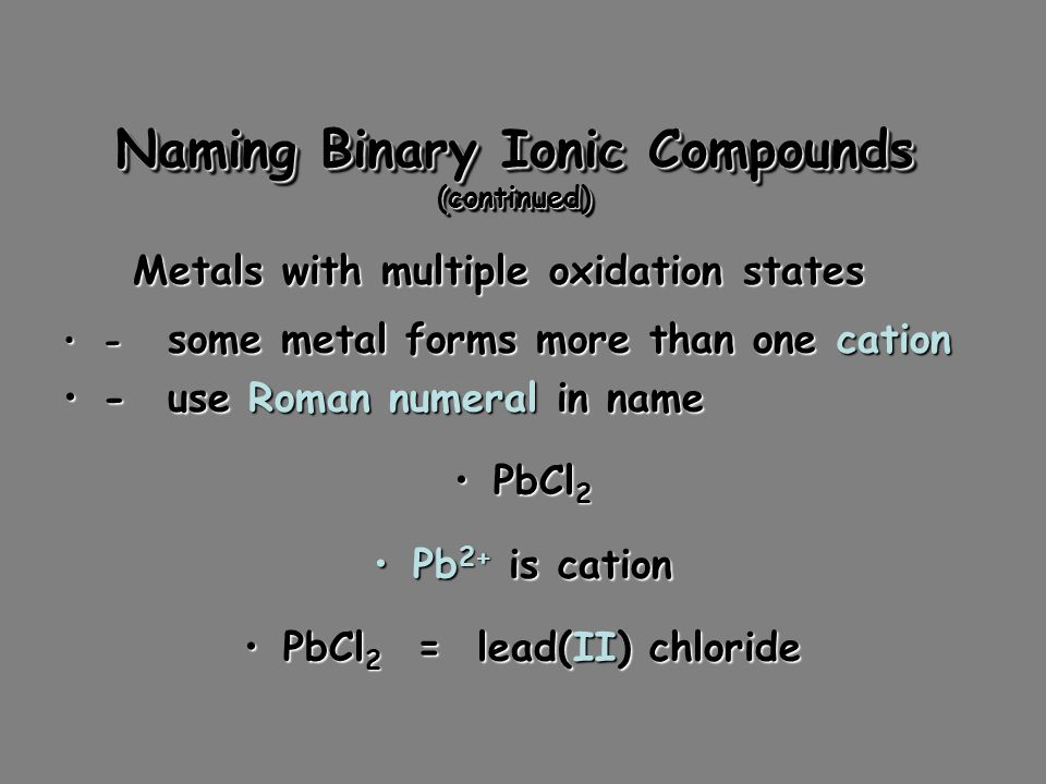 Naming Binary Ionic Compounds 1.Cation first, then anion1.